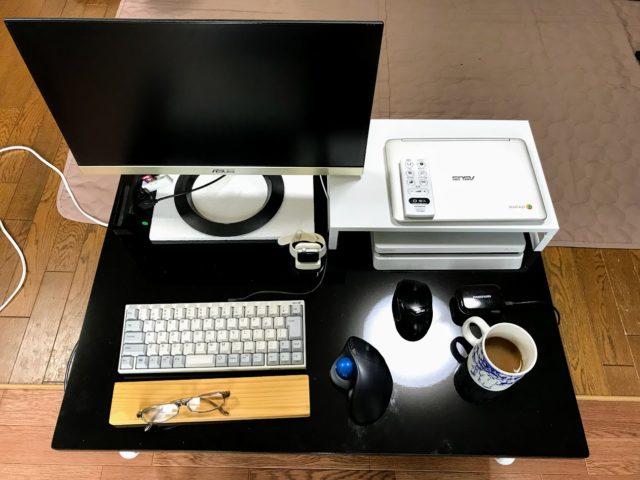 「幅の広いキャスター付きローデスクでパソコン作業、姿勢が良くなった」のアイキャッチ画像